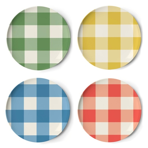 Gingham Plaid Melamine Plates