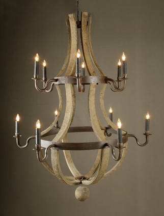Wine barrel chandeliers dundee general store these reclaimed french oak chandeliers are constructed using the staves wood and hoops metal of old wine barrels the stunning design comes in six aloadofball Gallery